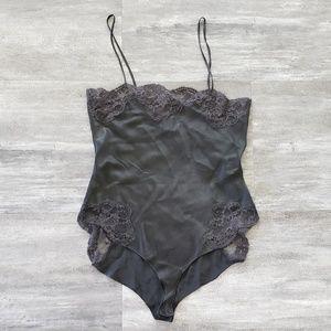Black Silk VS Petite Vintage Bodysuit Lingerie